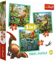 Набор пазлов Trefl Мир динозавров / 34837 (3в1) -