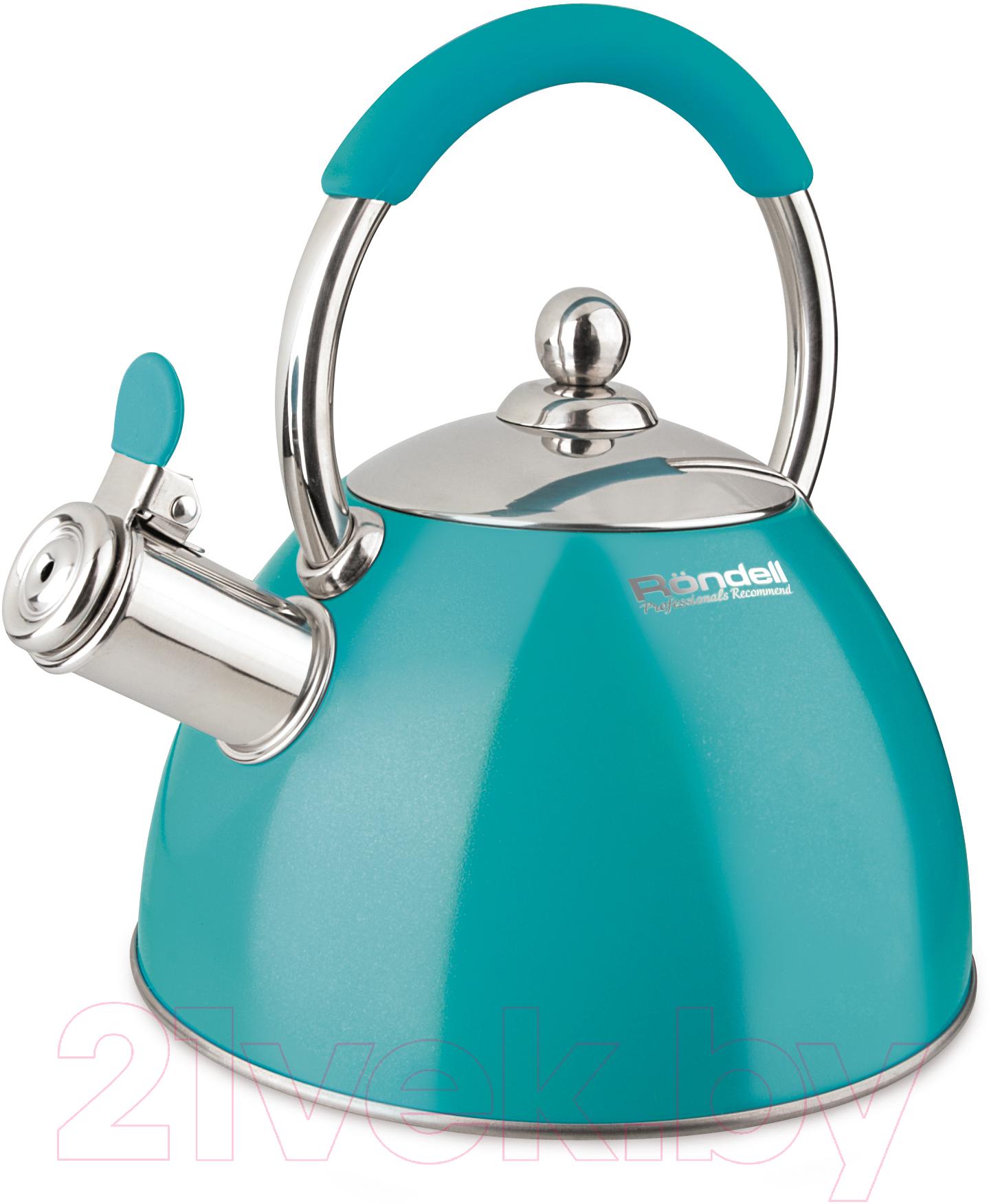 Купить Чайник со свистком Rondell, RDS-939 (бирюзовый), Китай, голубой