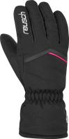 Перчатки лыжные Reusch Marisa / 6031150 7748 (р-р 8, Black/White/Pink Glo) -