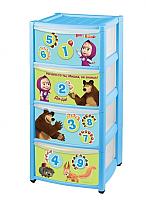 Комод пластиковый Бытпласт Маша и медведь 4313029 (4 ящика, голубой) -