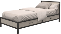 Односпальная кровать Millwood Neo Loft КМ-3.1 Ш 207x97x81 (дуб беленый/металл черный) -
