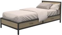 Односпальная кровать Millwood Neo Loft КМ-3.1 Ш 207x97x81 (дуб натуральный/металл черный) -