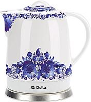 Электрочайник Delta DL-1233B (синие цветы) -