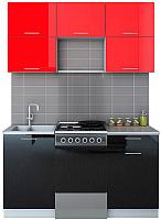 Готовая кухня Интерлиния Мила Gloss 50-15 (красный/черный) -