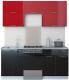 Готовая кухня Интерлиния Мила Gloss 50-18 (бордовый/черный) -