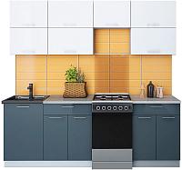 Готовая кухня Интерлиния Мила Gloss 50-22 (белый/асфальт) -