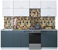 Готовая кухня Интерлиния Мила Gloss 50-24 (белый/асфальт) -