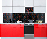 Готовая кухня Интерлиния Мила Gloss 50-25 (белый/красный) -