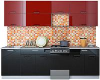 Готовая кухня Интерлиния Мила Gloss 50-26 (бордовый/черный) -
