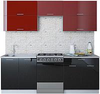 Готовая кухня Интерлиния Мила Gloss 60-22 (бордовый/черный) -