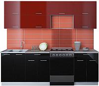 Готовая кухня Интерлиния Мила Gloss 60-24 (бордовый/черный) -