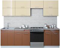 Готовая кухня Интерлиния Мила Gloss 60-26 (ваниль/шоколад) -