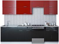 Готовая кухня Интерлиния Мила Gloss 60-28 (бордовый/черный) -