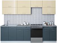 Готовая кухня Интерлиния Мила Gloss 60-28 (ваниль/асфальт) -