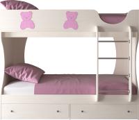 Двухъярусная кровать детская Артём-Мебель СН 108.01 (сосна/мишутка/розовый металлик) -