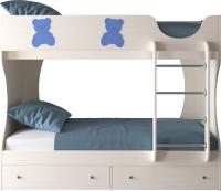 Двухъярусная кровать детская Артём-Мебель СН 108.01 (сосна/мишутка/синий металлик) -