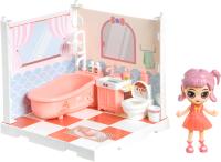 Комплект аксессуаров для кукольного домика Bondibon Кукольный уголок и куколка Oly. Ванная комната / ВВ4495 -