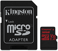 Карта памяти Kingston Canvas React microSDHC 32GB (SDCR/32GB) + адаптер -