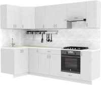 Готовая кухня S-Company Клео глосc 1.2x2.7 левая (белый глянец/белый глянец) -