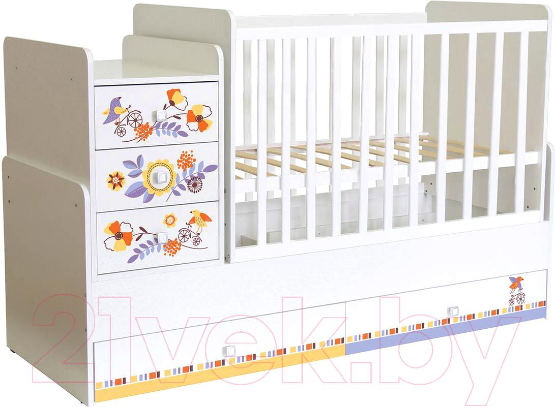 Купить Детская кровать-трансформер Polini Kids, Simple 1100 Прогулка (белый), Россия, массив дерева