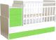 Детская кровать-трансформер Polini Kids Simple 1111 с комодом (белый/лайм) -