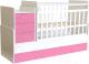 Детская кровать-трансформер Polini Kids Simple 1111 с комодом (белый/розовый) -