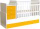 Детская кровать-трансформер Polini Kids Simple 1111 с комодом (белый/желтый) -