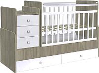 Детская кровать-трансформер Фея 1100 (вяз/белый) -
