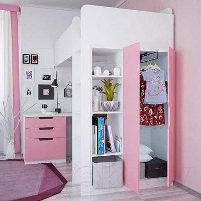 Двери шкафа для кровати-чердака Polini Kids Simple (розовый)