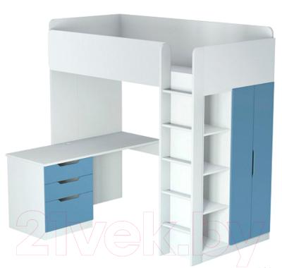Двери шкафа для кровати-чердака Polini Kids Simple (синий)