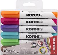 Набор маркеров для доски Kores 20802 (6шт, ассорти) -