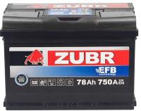 Автомобильный аккумулятор Zubr EFB R+ (78 А/ч) -