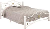 Двуспальная кровать Грифонсервис КД7-1 (белый/золото) -