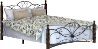 Двуспальная кровать Грифонсервис КД11-1 (коричневый/черный) -