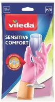 Перчатки хозяйственные Vileda Sensitive для деликатных работ / 105393 (M) -