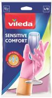 Перчатки хозяйственные Vileda Sensitive для деликатных работ / 105394 (L) -