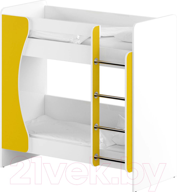 Купить Двухъярусная кровать Славянская столица, ДУ-КД2 (белый/желтый), Беларусь
