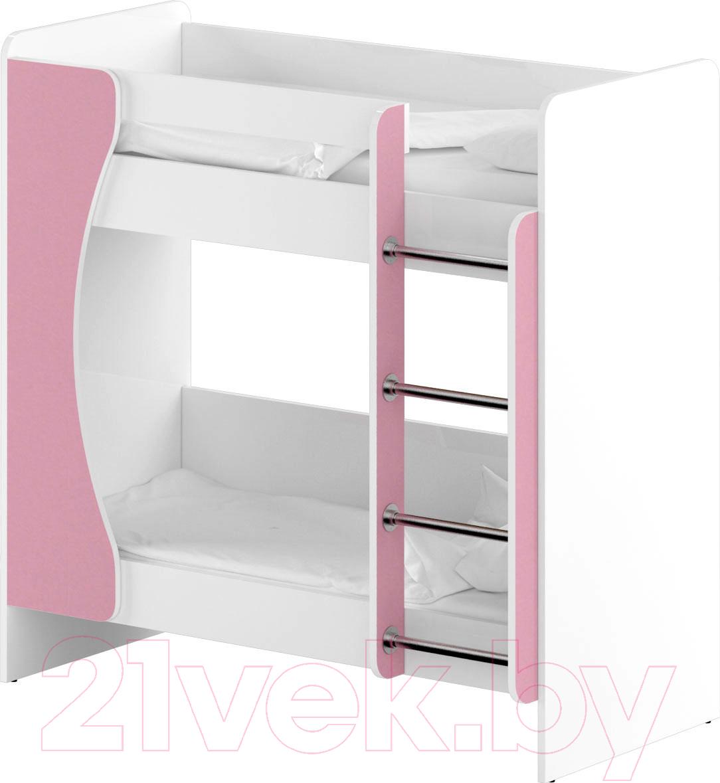 Купить Двухъярусная кровать Славянская столица, ДУ-КД2 (белый/розовый), Беларусь