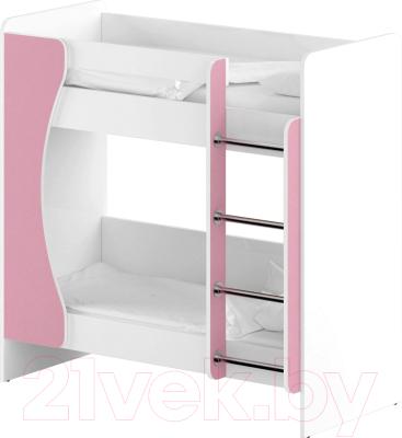 Двухъярусная кровать детская Славянская столица ДУ-КД2 (белый/розовый)