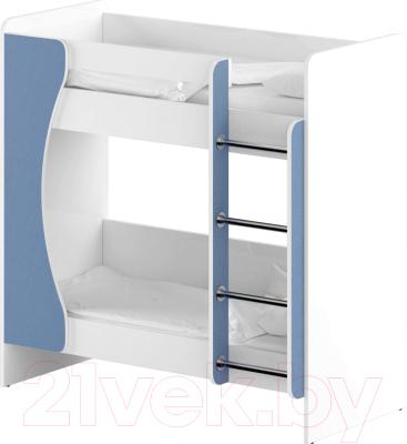 Двухъярусная кровать детская Славянская столица ДУ-КД2 (белый/синий)