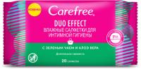 Влажные салфетки для интимной гигиены Carefree Duo Effect с зеленым чаем и алоэ вера (20шт) -