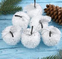 Набор ёлочных игрушек Зимнее волшебство Яблочко / 1399809 (6шт, бело-серебристый) -