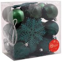 Набор ёлочных игрушек Зимнее волшебство Амур / 4941767 (30шт, зеленый) -