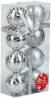 Набор шаров новогодних Зимнее волшебство Жемчужный орион / 3249215 (8шт, серебристый) -