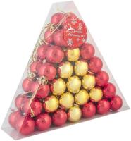 Набор шаров новогодних Зимнее волшебство Треугольник / 3259659 (56шт, золото/красный) -