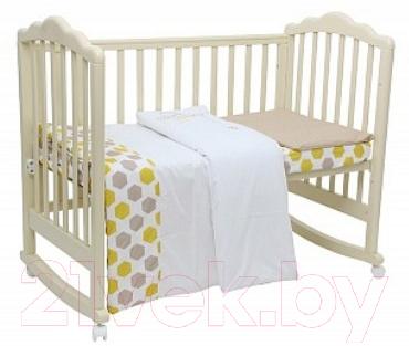 Купить Комплект в кроватку Polini Kids, Disney baby Медвежонок Винни и его друзья 3 (макиато/желтый), Россия, хлопок, Disney Медвежонок Винни и его друзья (Polini Kids)
