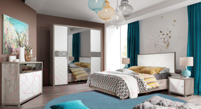 Двуспальная кровать Мебель-КМК 1600 Кристал 0650.3 (дуб юккон/белый жемчуг)