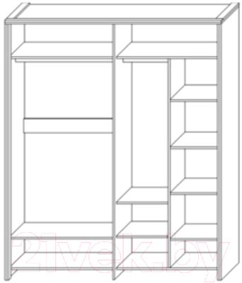 Шкаф Мебель-КМК Кристал 4Д 0650.8 (дуб юккон/белый жемчуг)