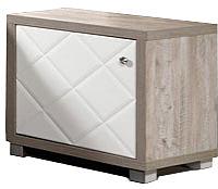 Прикроватная тумба Мебель-КМК Кристал 1Д 0650.6 (дуб юккон/белый жемчуг) -