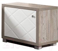 Прикроватная тумба Мебель-КМК Кристал 1Д 0650.6 (дуб юккон/белый жемчуг)